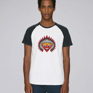 T-Shirt Bio Homme manche raglan bleu foncé - Navajos Baseball tee