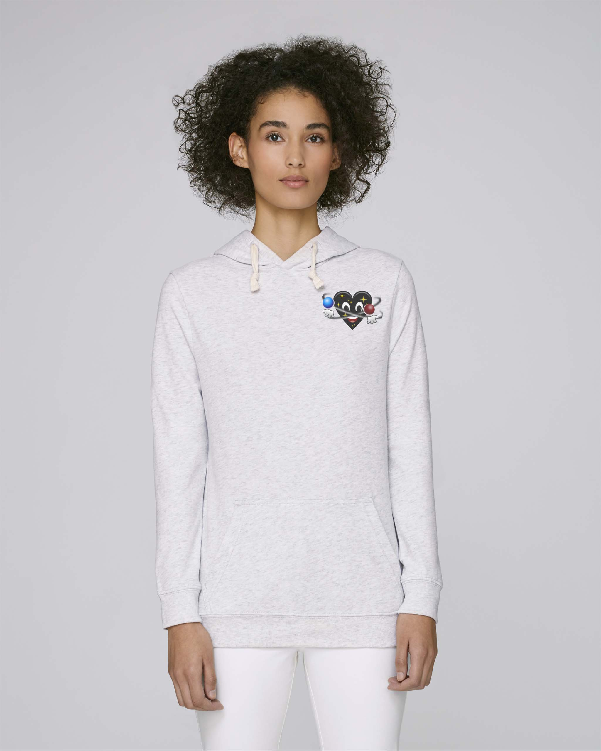 Sweat shirt a capuche bio blanc femme - Universe hoodie