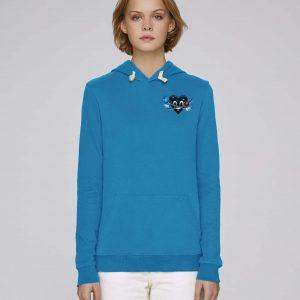 Sweat shirt à capuche bio bleu femme - Universe hoodie