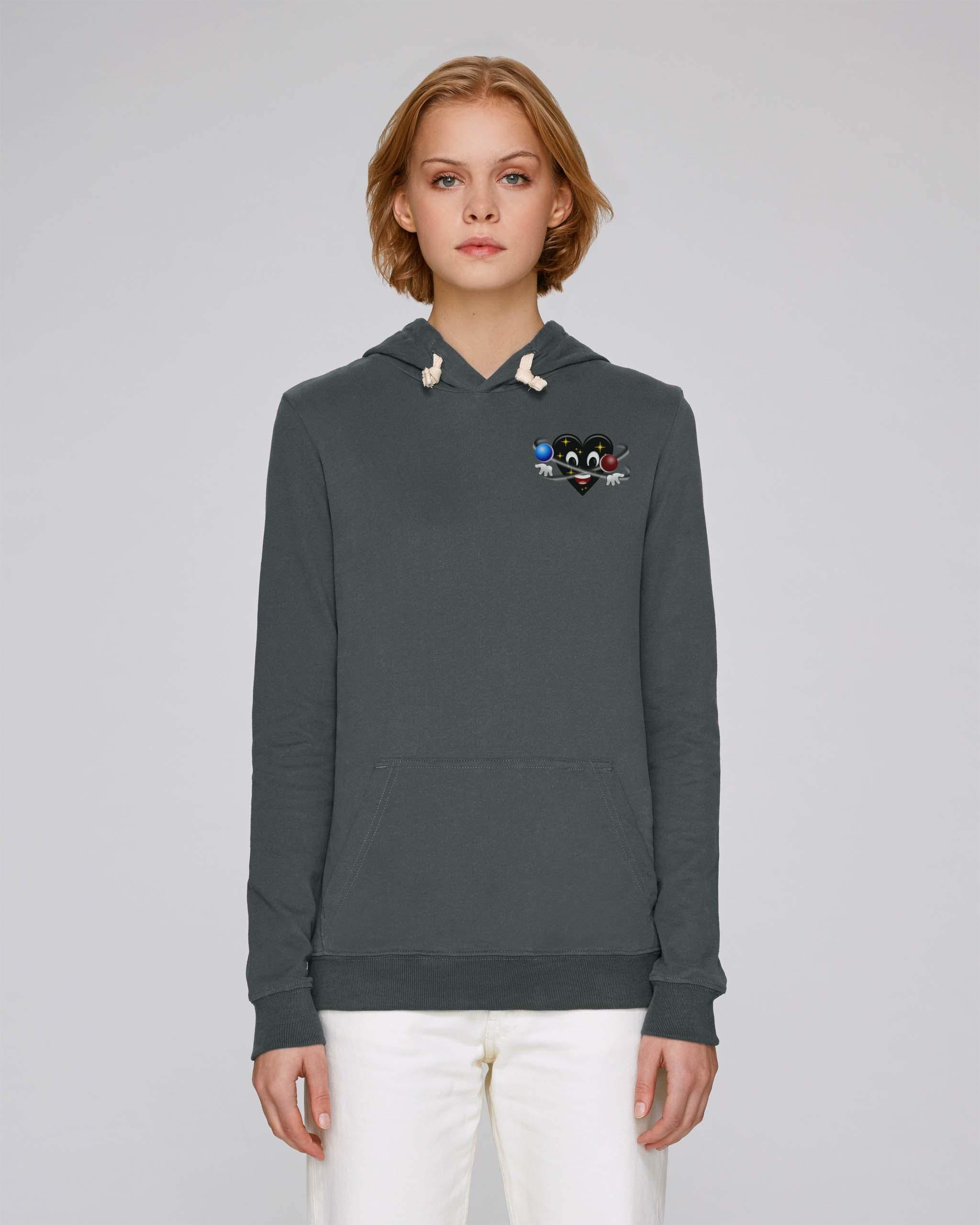 Sweat shirt a capuche bio uni gris femme - Universe hoodie