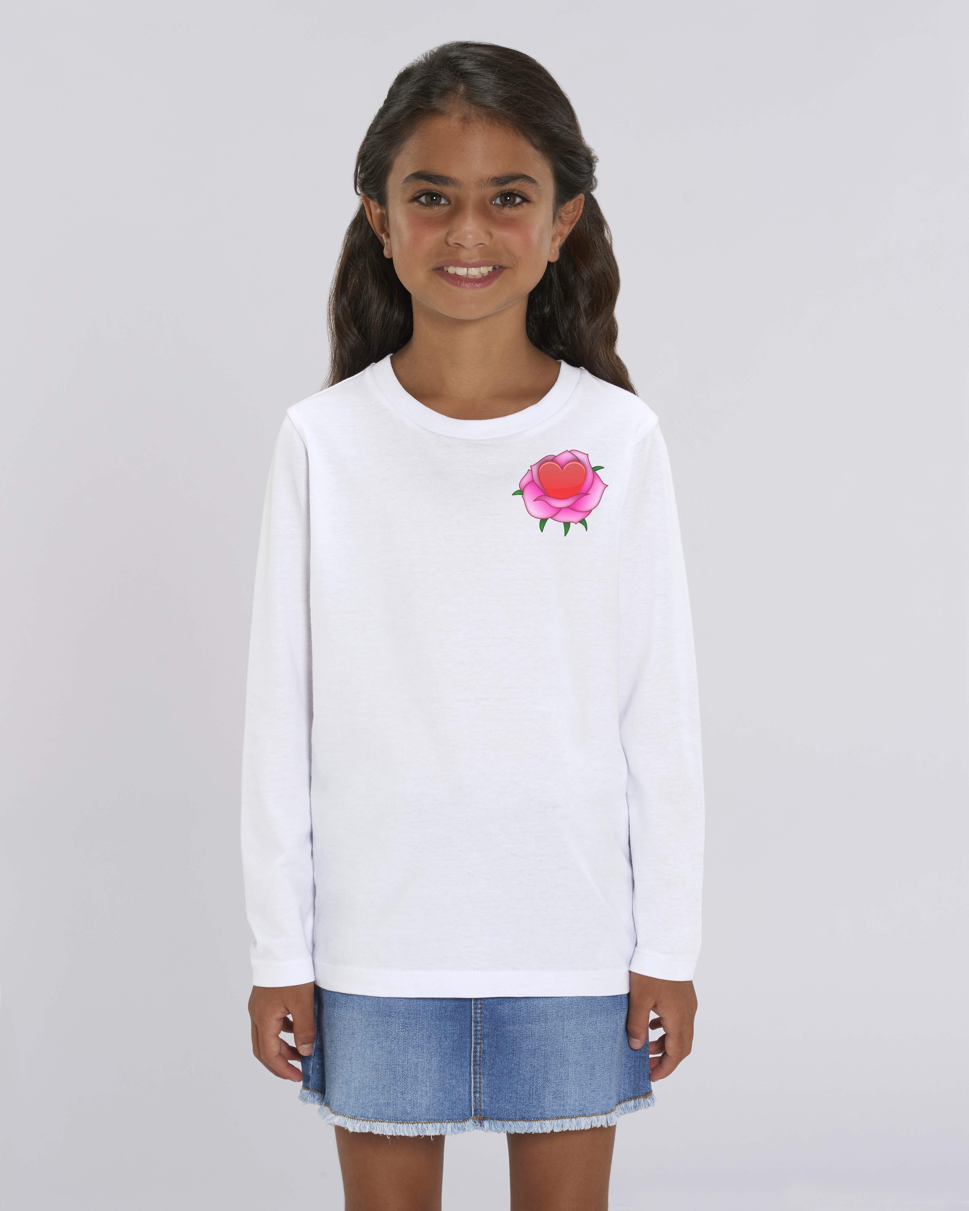 Organic white T-Shirt Child girl - Roses tee