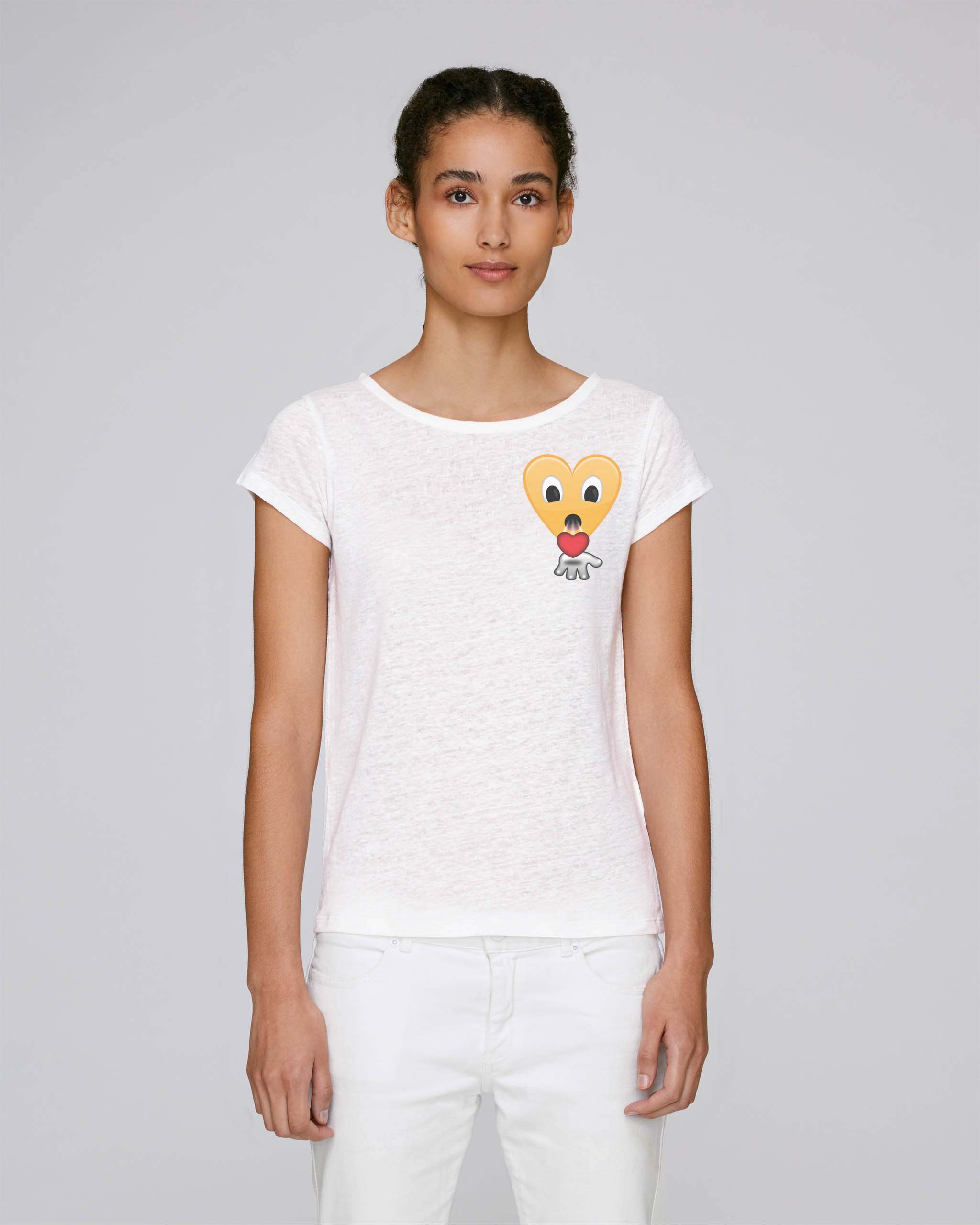 T-Shirt Bio blanc Femme - kiss tee