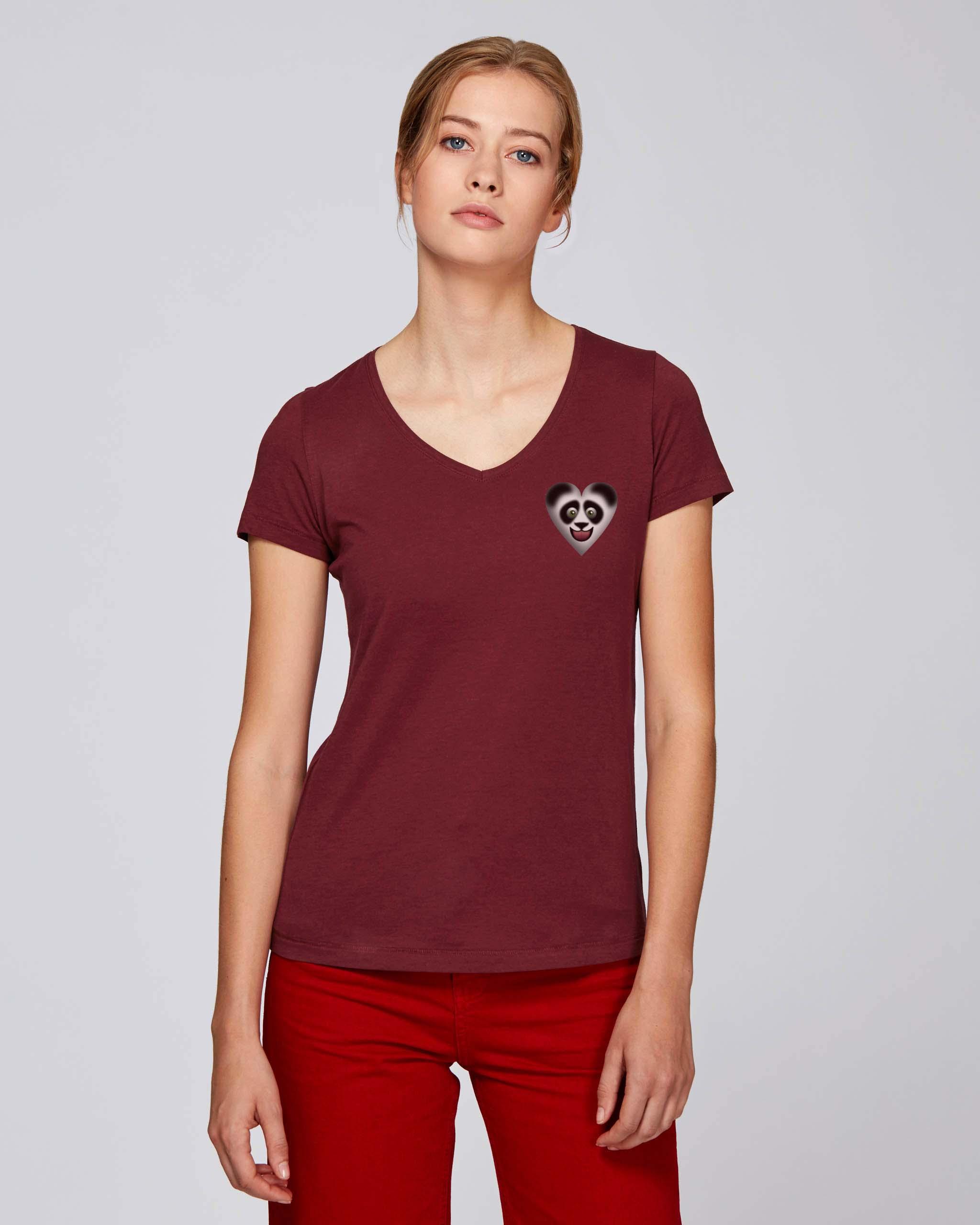 T-Shirt Bio bordeaux Femme – Panda tee