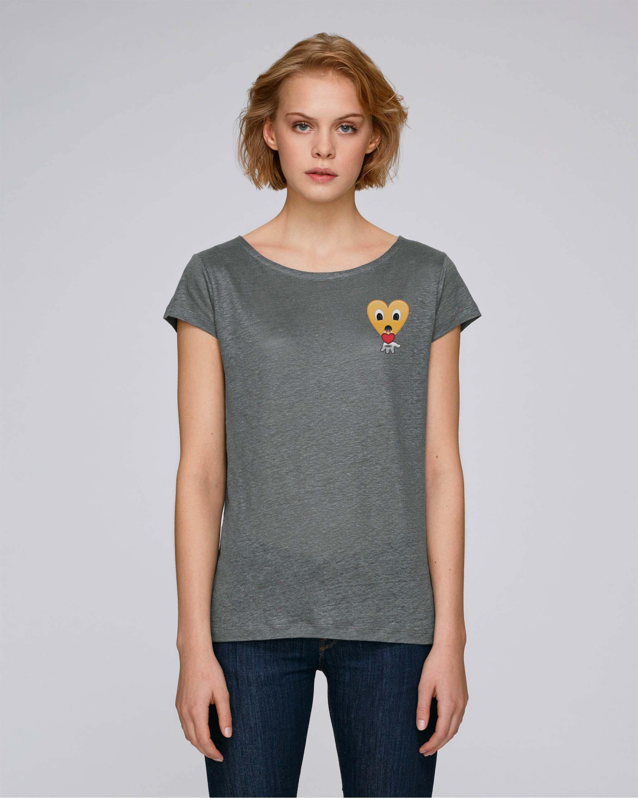 T-Shirt Bio gris lin Femme - kiss tee