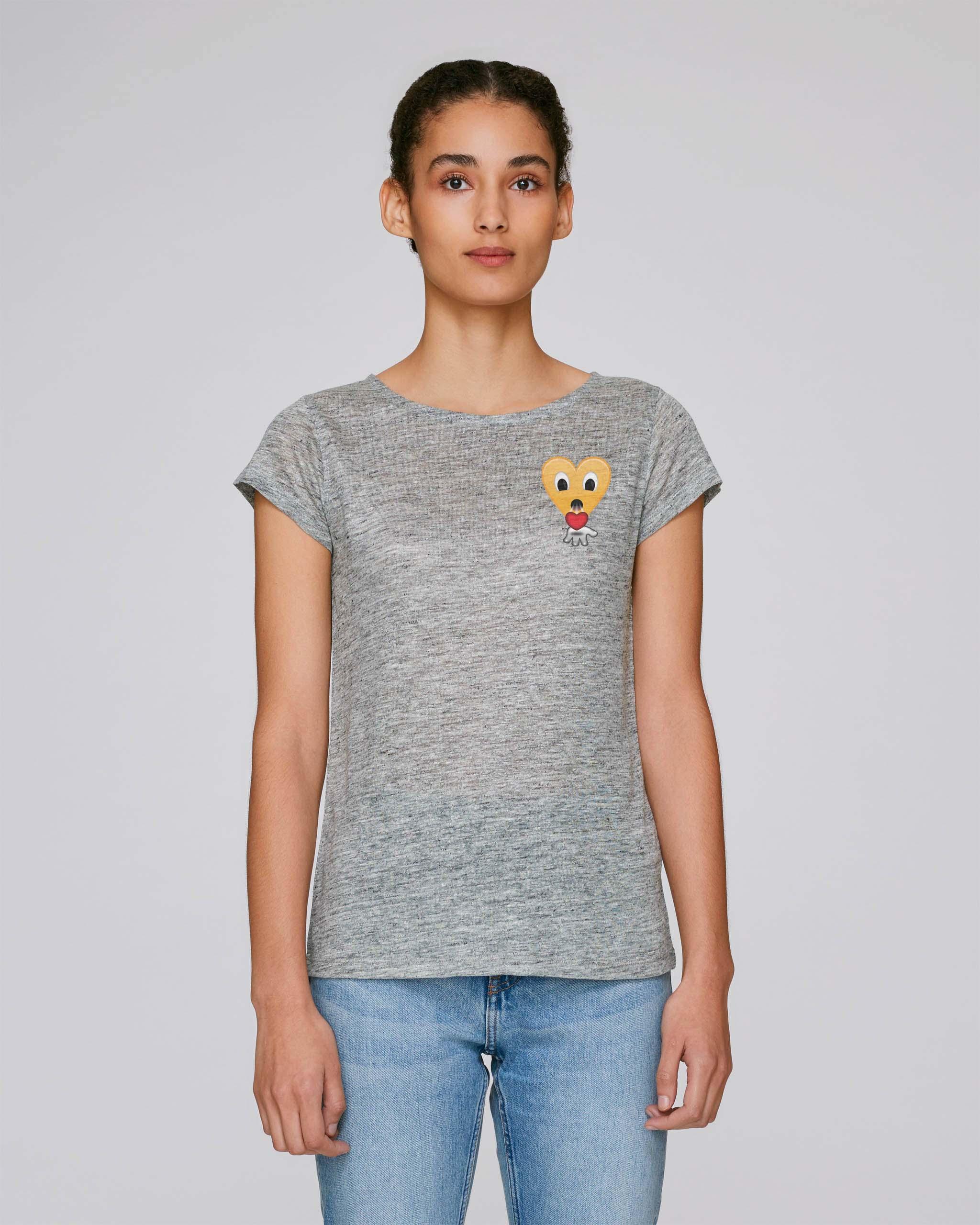 T-Shirt Bio gris clair Femme - kiss tee