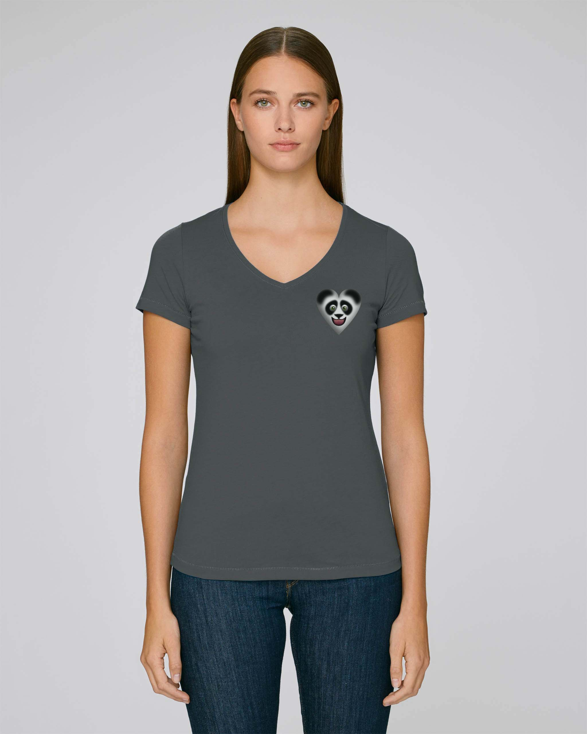 T-Shirt Bio gris anthracite fonce Femme – Panda tee