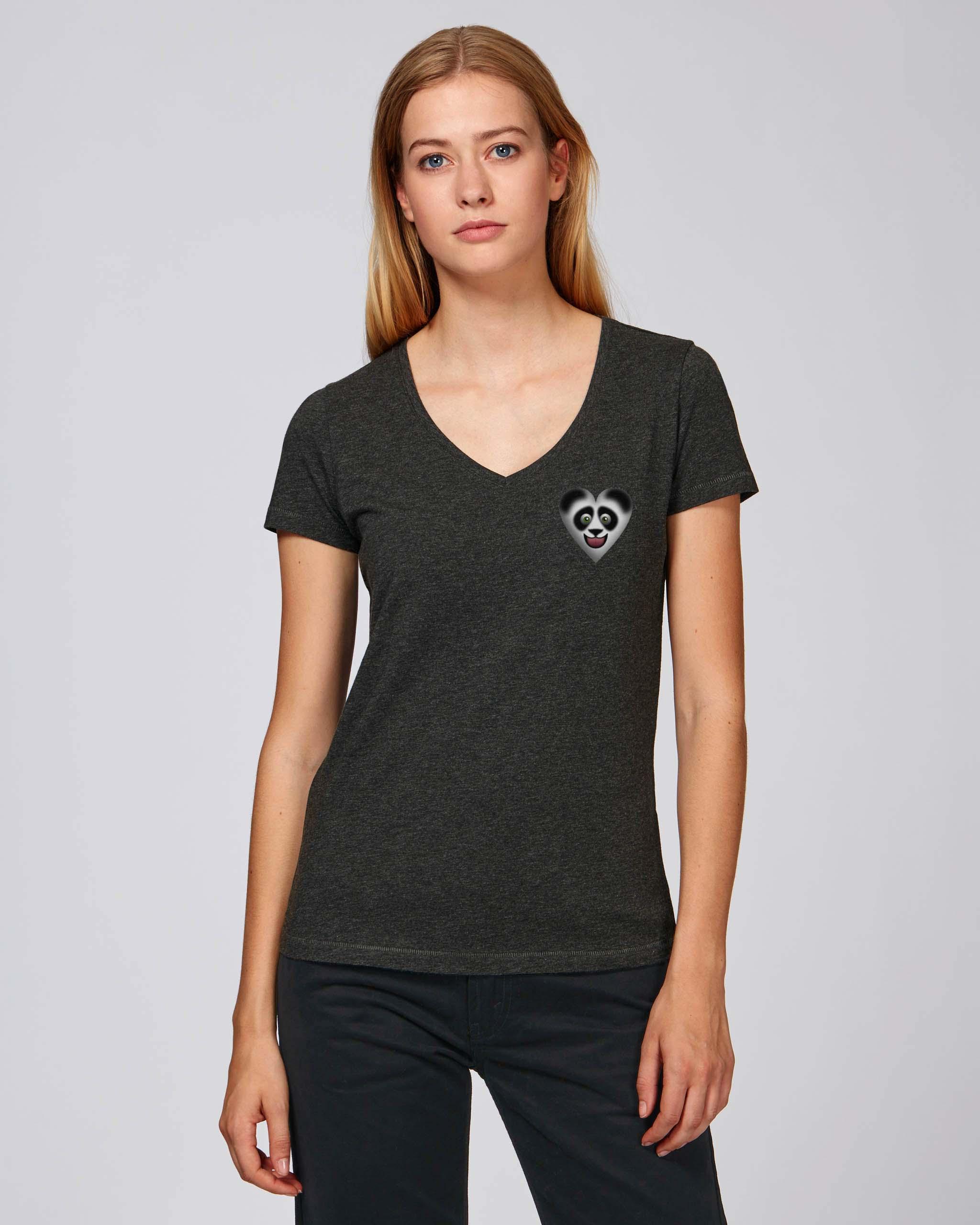 T-Shirt Bio gris foncé chiné Femme – Panda tee
