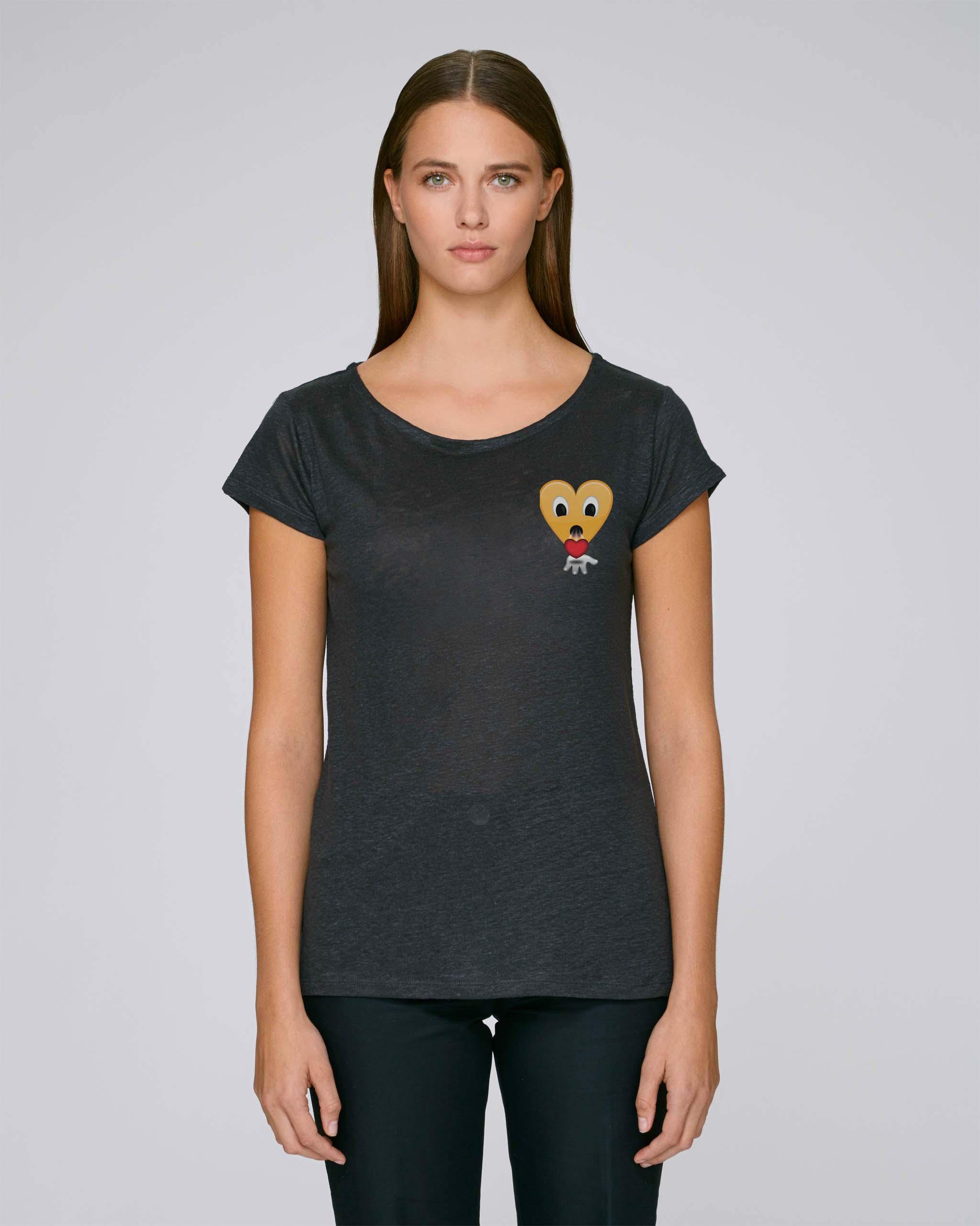 T-Shirt Bio noir stretch Femme - kiss tee