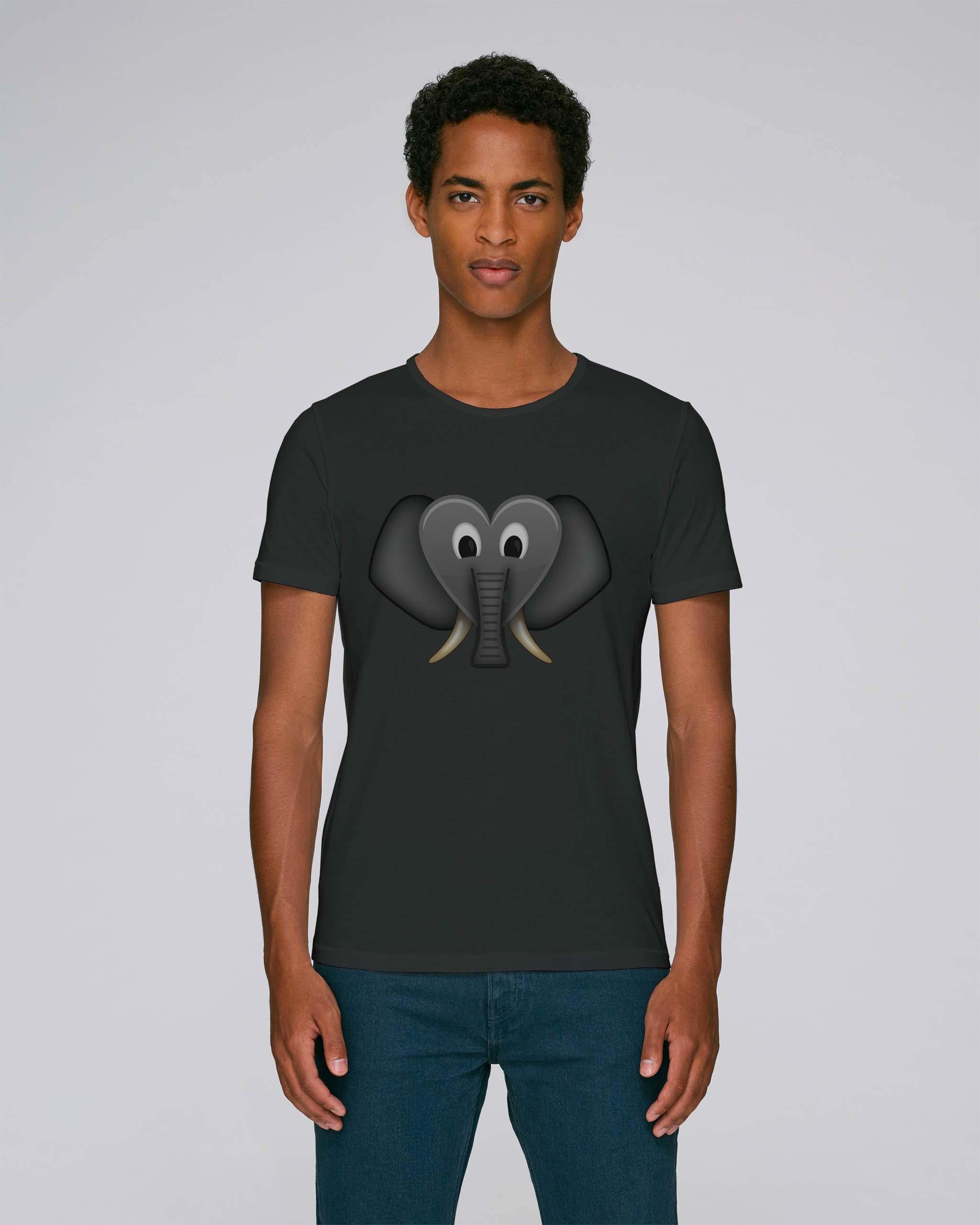 T-Shirt Noir Bio Homme - Coeur elephant tee