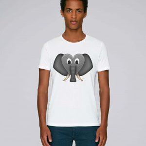 T-Shirt Blanc Bio Homme - Coeur elephant tee