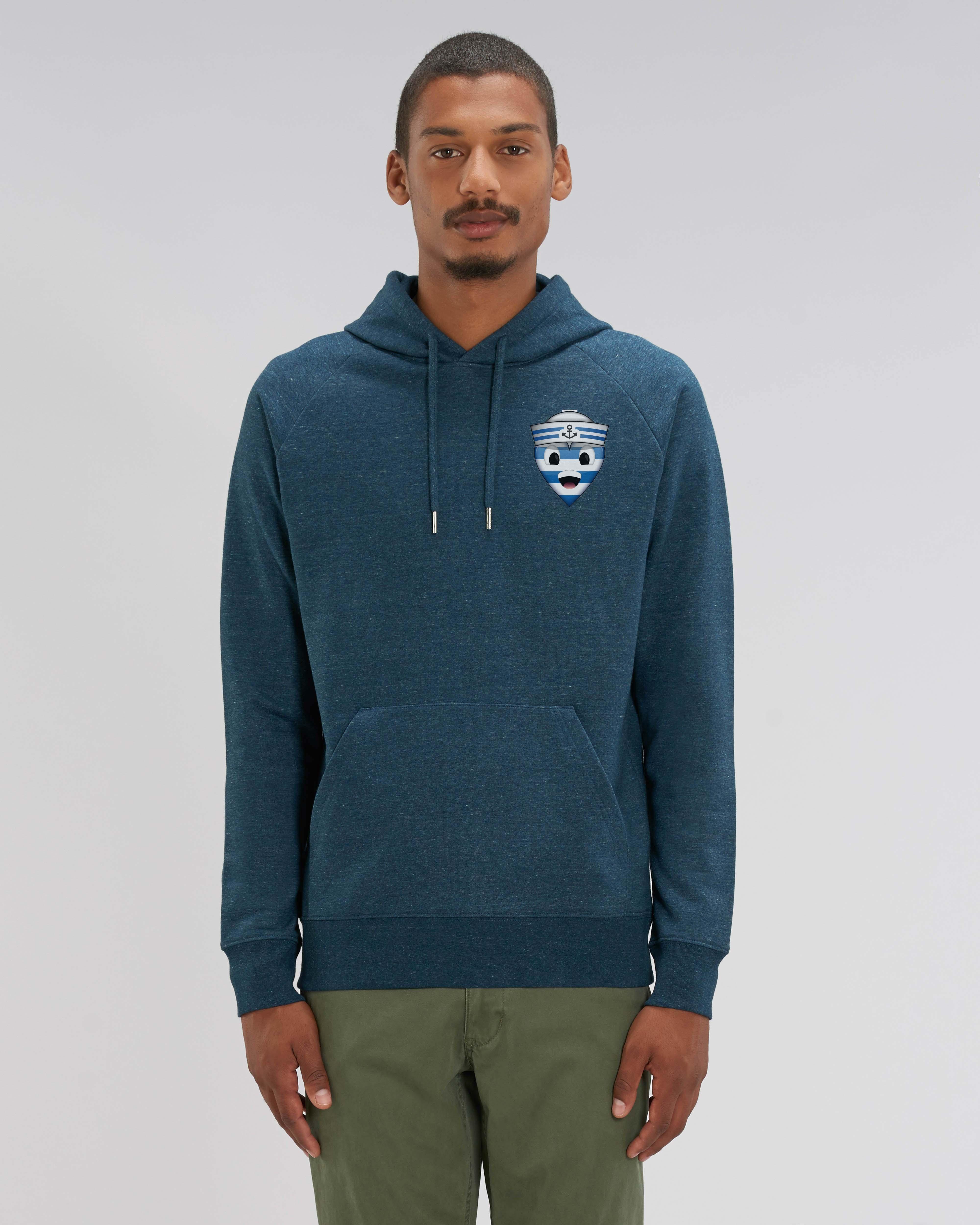 Sweat shirt à Capuche jean sombre chiné - navy hoodie