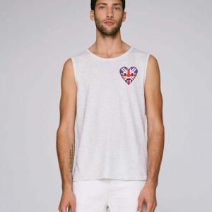 T-shirt bio gris crème chiné manche courte homme - uk tee